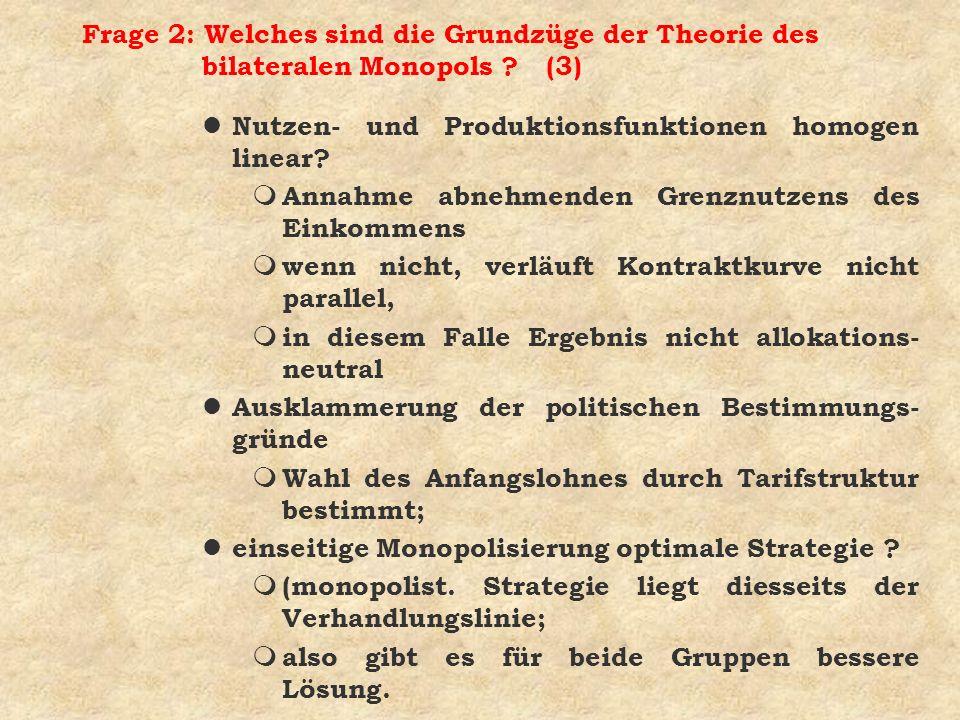 Frage 2: Welches sind die Grundzüge der Theorie des bilateralen Monopols ? (3) l Nutzen- und Produktionsfunktionen homogen linear? m Annahme abnehmend