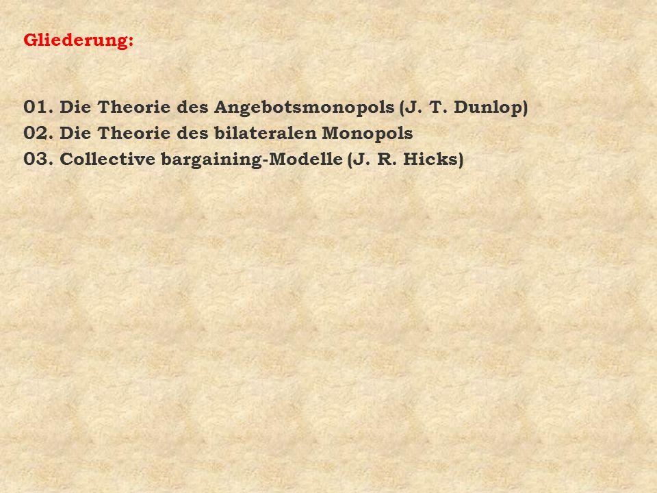 Gliederung: 01. Die Theorie des Angebotsmonopols (J. T. Dunlop) 02. Die Theorie des bilateralen Monopols 03. Collective bargaining-Modelle (J. R. Hick