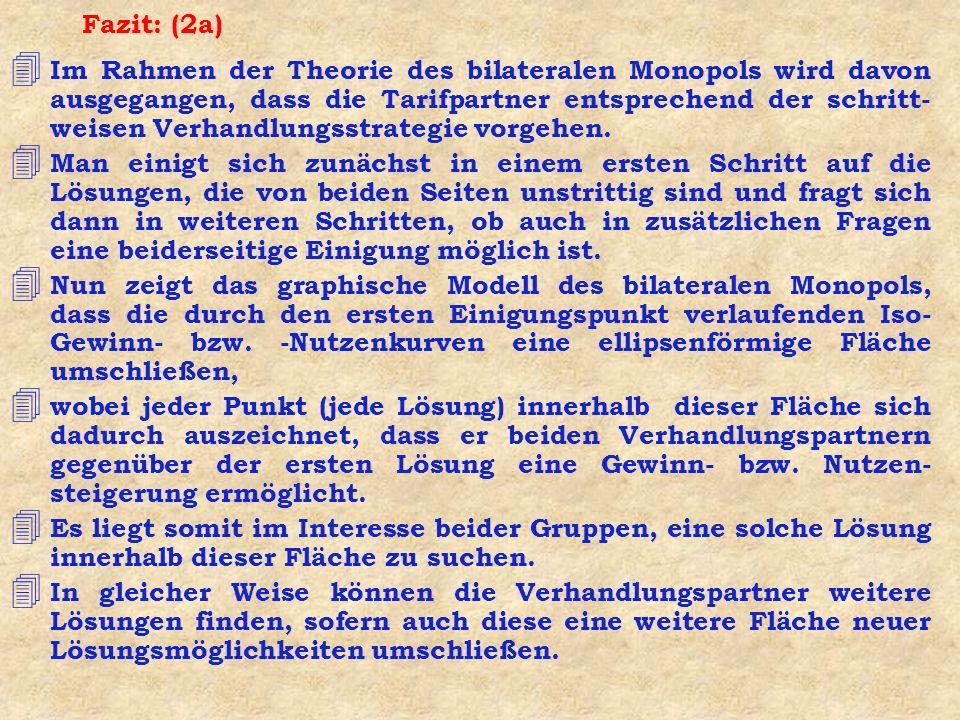 Fazit: (2a) 4 Im Rahmen der Theorie des bilateralen Monopols wird davon ausgegangen, dass die Tarifpartner entsprechend der schritt- weisen Verhandlun