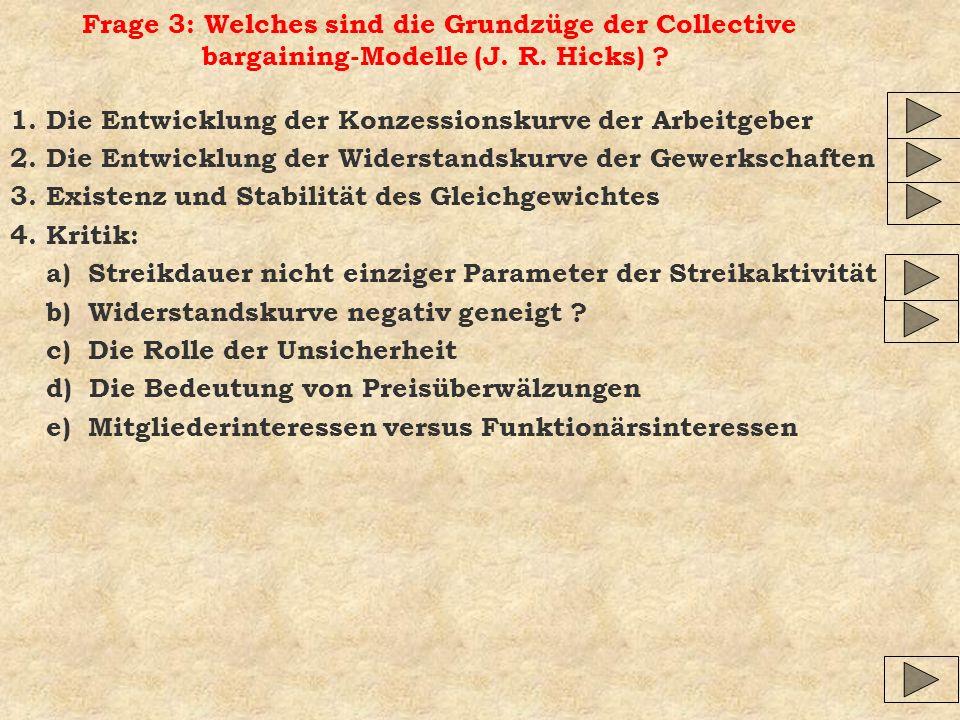 Frage 3: Welches sind die Grundzüge der Collective bargaining-Modelle (J. R. Hicks) ? 1. Die Entwicklung der Konzessionskurve der Arbeitgeber 2. Die E