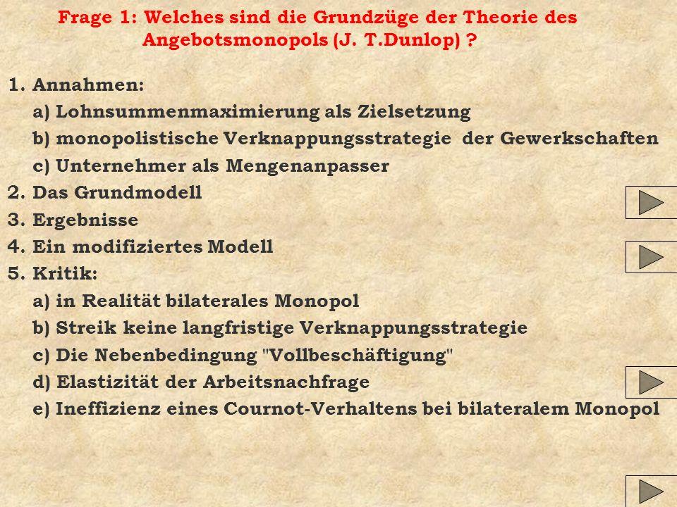 Frage 1: Welches sind die Grundzüge der Theorie des Angebotsmonopols (J.