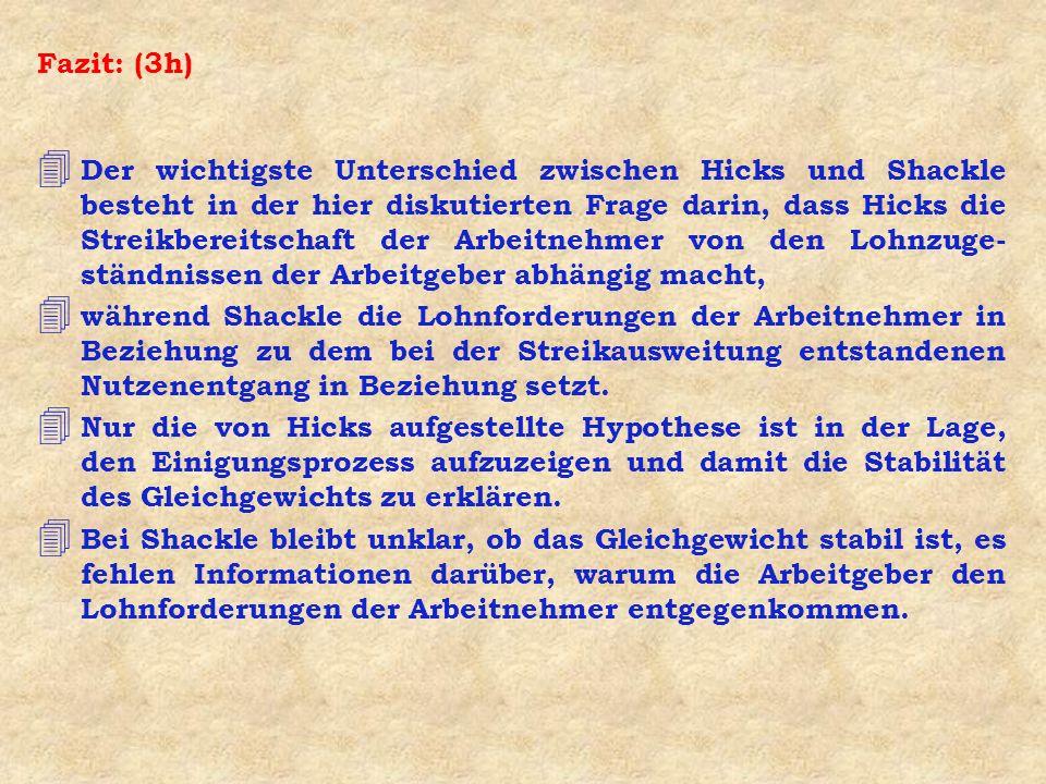 Fazit: (3h) 4 Der wichtigste Unterschied zwischen Hicks und Shackle besteht in der hier diskutierten Frage darin, dass Hicks die Streikbereitschaft de