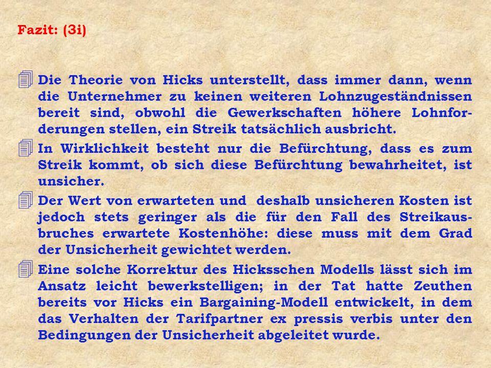 Fazit: (3i) 4 Die Theorie von Hicks unterstellt, dass immer dann, wenn die Unternehmer zu keinen weiteren Lohnzugeständnissen bereit sind, obwohl die