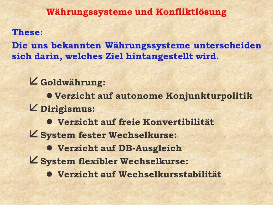 Währungssysteme und Konfliktlösung These: Die uns bekannten Währungssysteme unterscheiden sich darin, welches Ziel hintangestellt wird. å Goldwährung: