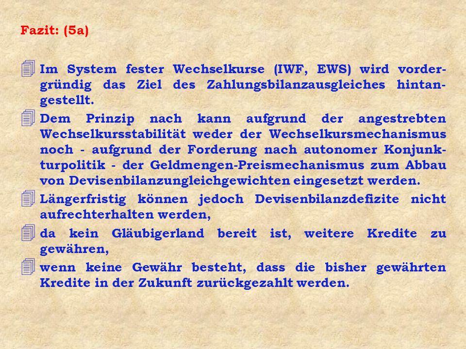 Fazit: (5a) 4 Im System fester Wechselkurse (IWF, EWS) wird vorder- gründig das Ziel des Zahlungsbilanzausgleiches hintan- gestellt. 4 Dem Prinzip nac