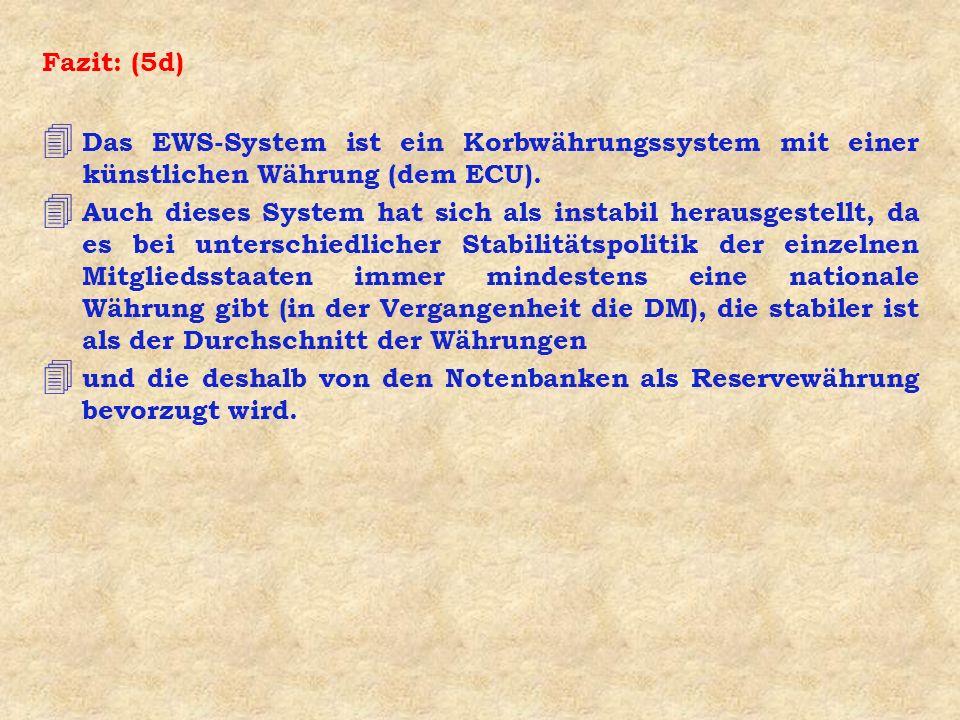 Fazit: (5d) 4 Das EWS-System ist ein Korbwährungssystem mit einer künstlichen Währung (dem ECU). 4 Auch dieses System hat sich als instabil herausgest