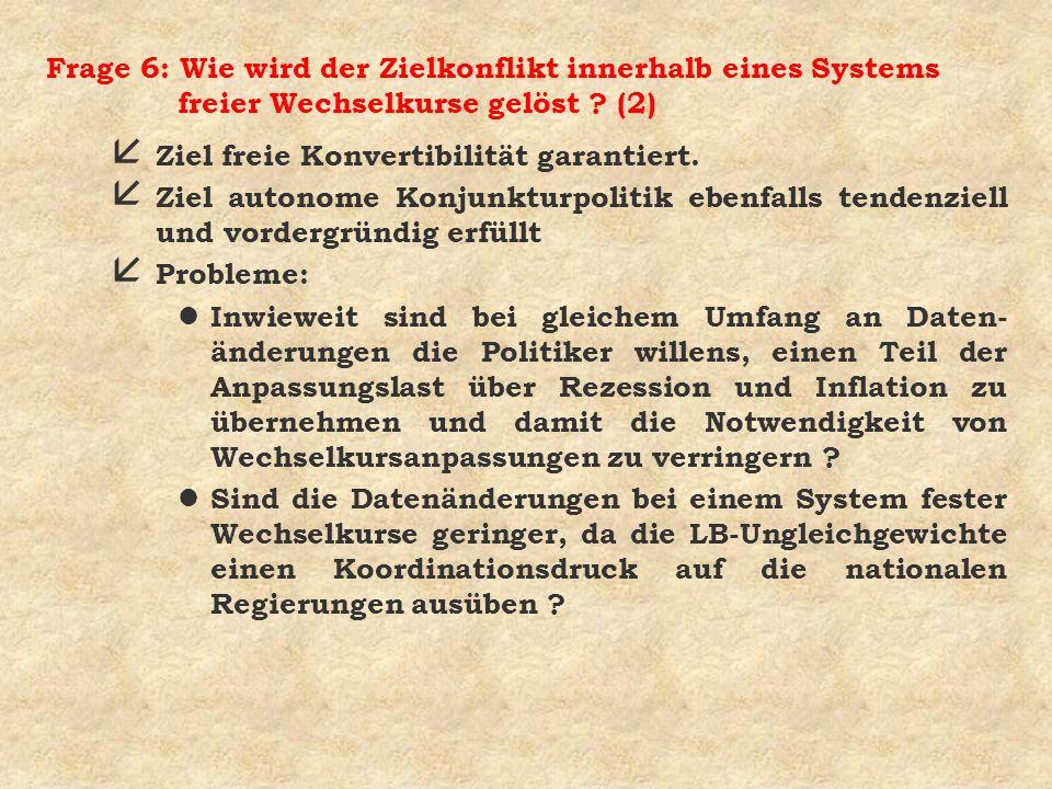 Frage 6: Wie wird der Zielkonflikt innerhalb eines Systems freier Wechselkurse gelöst ? (2) å Ziel freie Konvertibilität garantiert. å Ziel autonome K