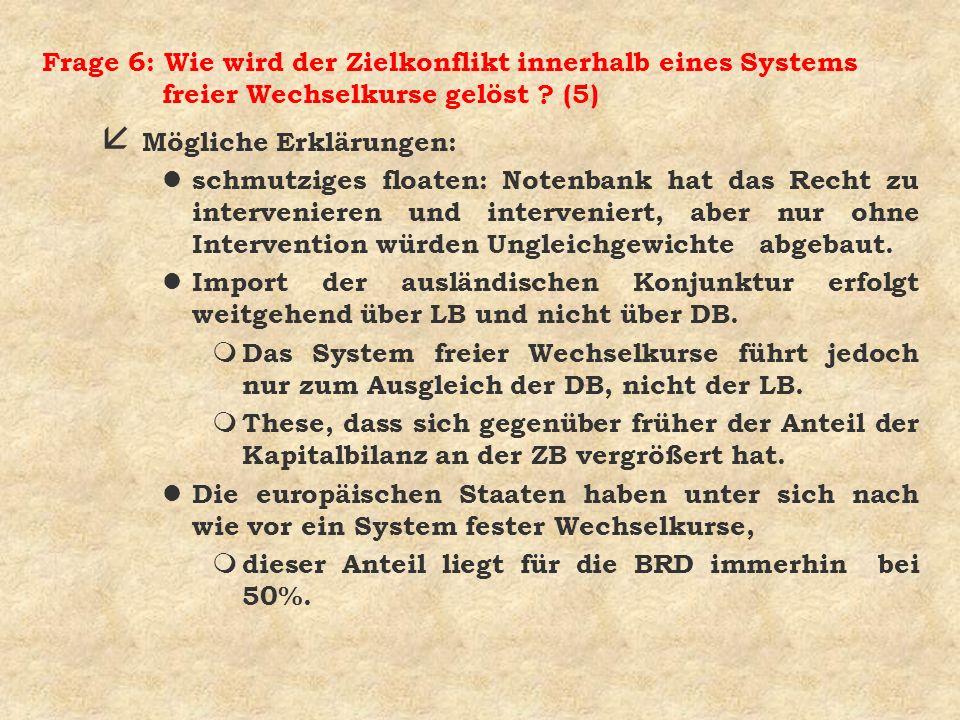 Frage 6: Wie wird der Zielkonflikt innerhalb eines Systems freier Wechselkurse gelöst ? (5) å Mögliche Erklärungen: l schmutziges floaten: Notenbank h
