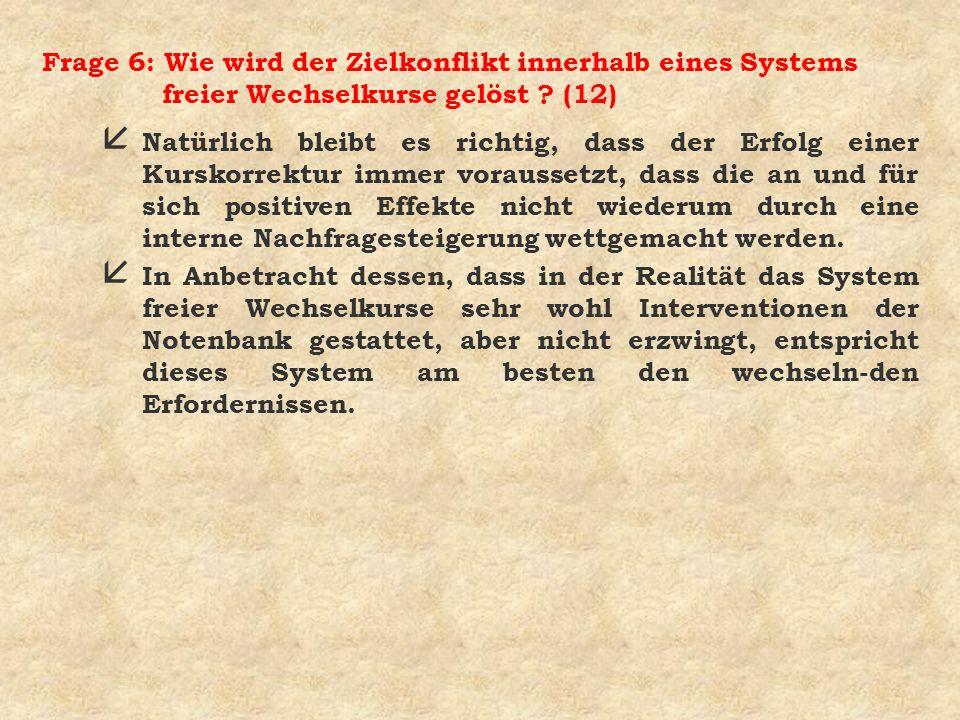 Frage 6: Wie wird der Zielkonflikt innerhalb eines Systems freier Wechselkurse gelöst ? (12) å Natürlich bleibt es richtig, dass der Erfolg einer Kurs