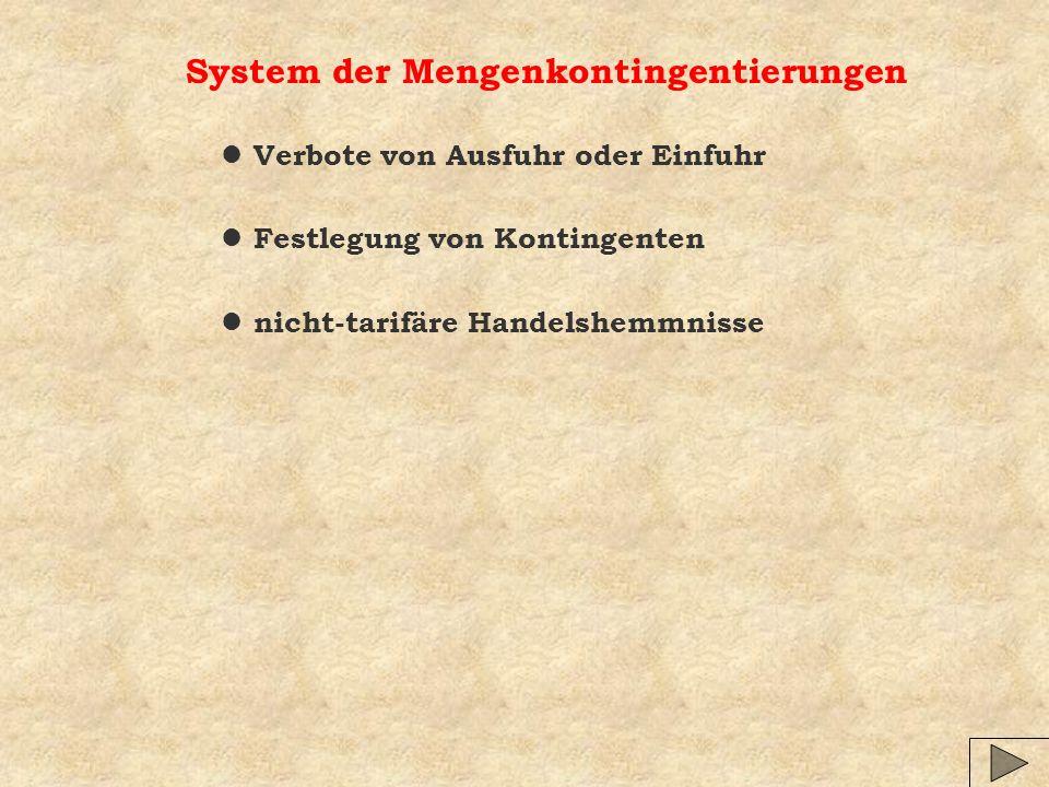 System der Mengenkontingentierungen l Verbote von Ausfuhr oder Einfuhr l Festlegung von Kontingenten l nicht-tarifäre Handelshemmnisse