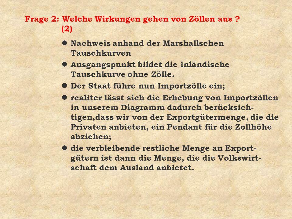 Frage 2: Welche Wirkungen gehen von Zöllen aus ? (2) l Nachweis anhand der Marshallschen Tauschkurven l Ausgangspunkt bildet die inländische Tauschkur