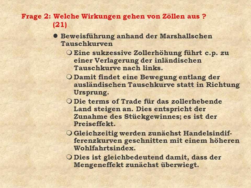 Frage 2: Welche Wirkungen gehen von Zöllen aus ? (21) l Beweisführung anhand der Marshallschen Tauschkurven m Eine sukzessive Zollerhöhung führt c.p.