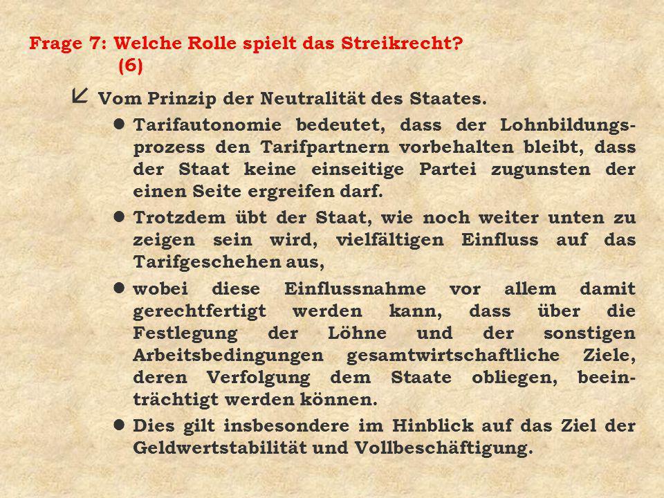 Frage 7: Welche Rolle spielt das Streikrecht.(7) å Vom Prinzip der Friedenspflicht.