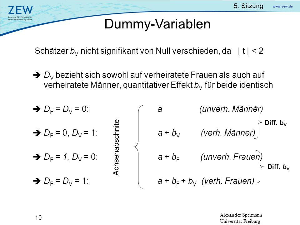 5. Sitzung Alexander Spermann Universität Freiburg 10 Schätzer b V nicht signifikant von Null verschieden, da | t | < 2 D V bezieht sich sowohl auf ve