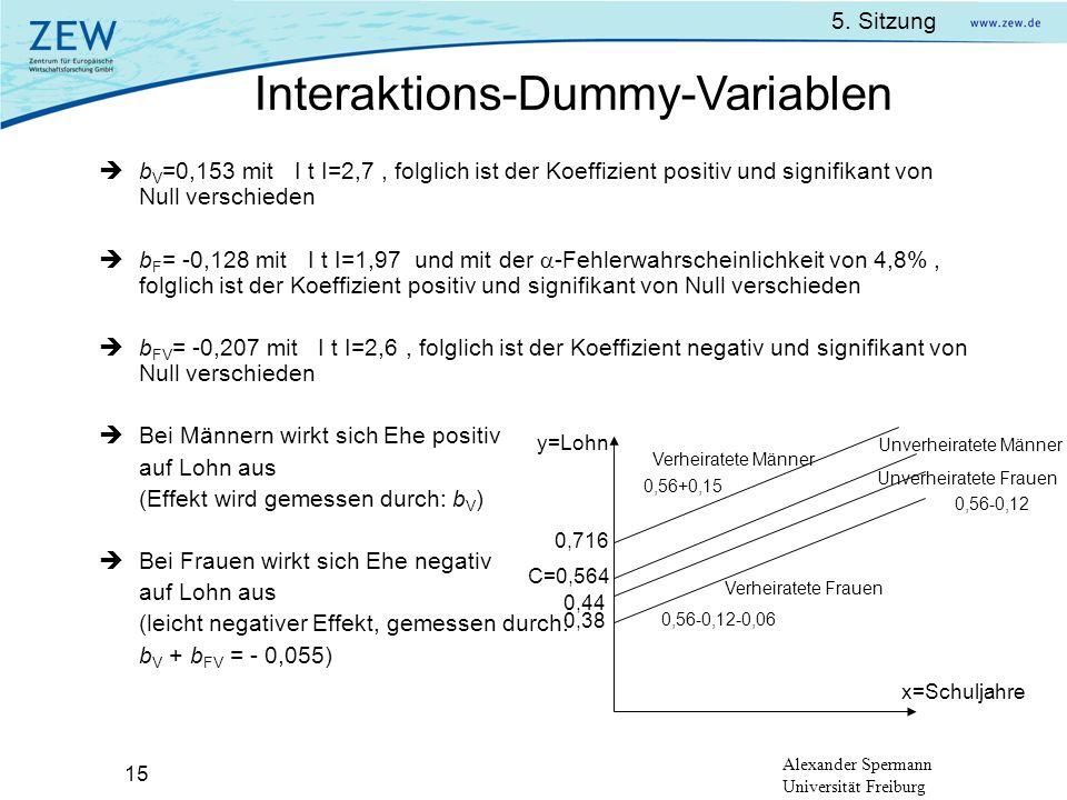 5. Sitzung Alexander Spermann Universität Freiburg 15 b V =0,153 mit I t I=2,7, folglich ist der Koeffizient positiv und signifikant von Null verschie