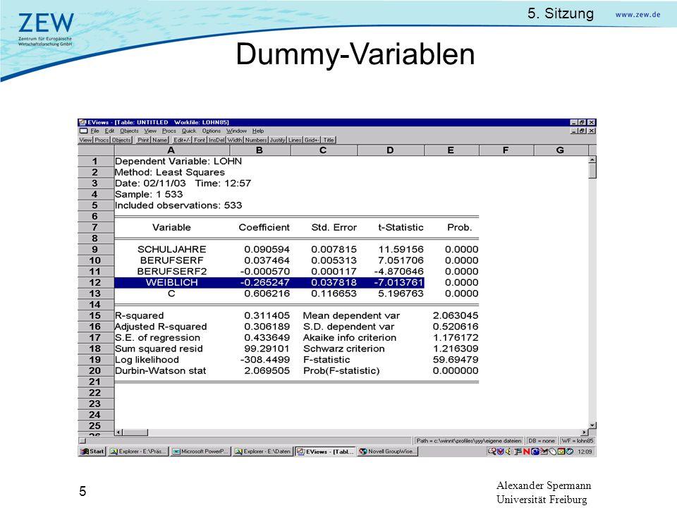 5. Sitzung Alexander Spermann Universität Freiburg 5 Dummy-Variablen