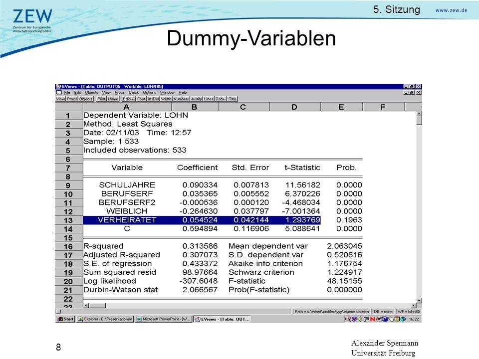 5. Sitzung Alexander Spermann Universität Freiburg 8 Dummy-Variablen