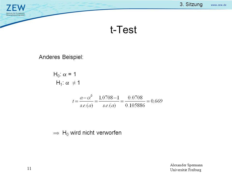 Alexander Spermann Universität Freiburg 3. Sitzung 11 t-Test Anderes Beispiel: H 0 : = 1 H 1 : 1 H 0 wird nicht verworfen