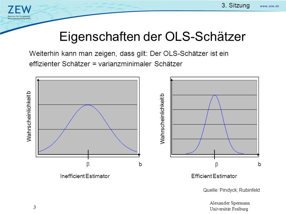 Alexander Spermann Universität Freiburg 3. Sitzung 3 Eigenschaften der OLS-Schätzer Wahrscheinlichkeit b bb Inefficient Estimator Weiterhin kann man z