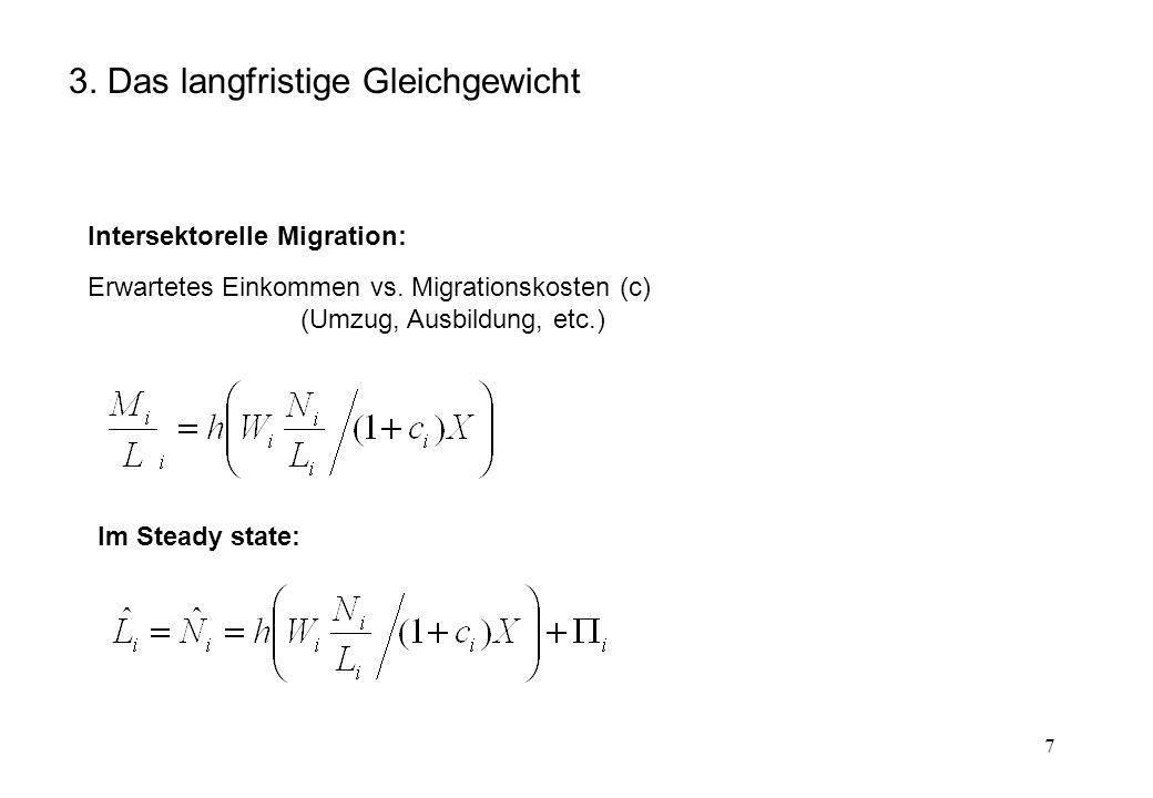 7 3. Das langfristige Gleichgewicht Intersektorelle Migration: Erwartetes Einkommen vs. Migrationskosten (c) (Umzug, Ausbildung, etc.) Im Steady state