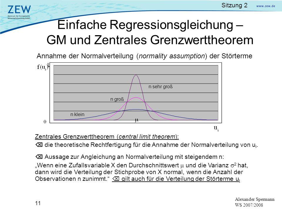 Sitzung 2 11 Alexander Spermann WS 2007/2008 Einfache Regressionsgleichung – GM und Zentrales Grenzwerttheorem Annahme der Normalverteilung (normality