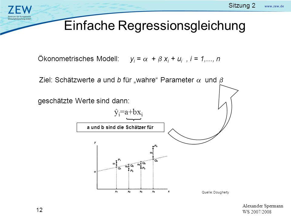 Sitzung 2 12 Alexander Spermann WS 2007/2008 Ökonometrisches Modell: y i = + x i + u i, i = 1,..., n Ziel: Schätzwerte a und b für wahre Parameter und