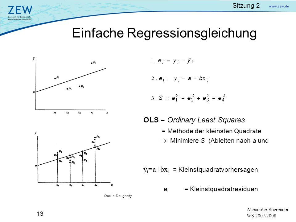 Sitzung 2 13 Alexander Spermann WS 2007/2008 OLS = Ordinary Least Squares = Methode der kleinsten Quadrate Minimiere S (Ableiten nach a und b) ! ŷ i =