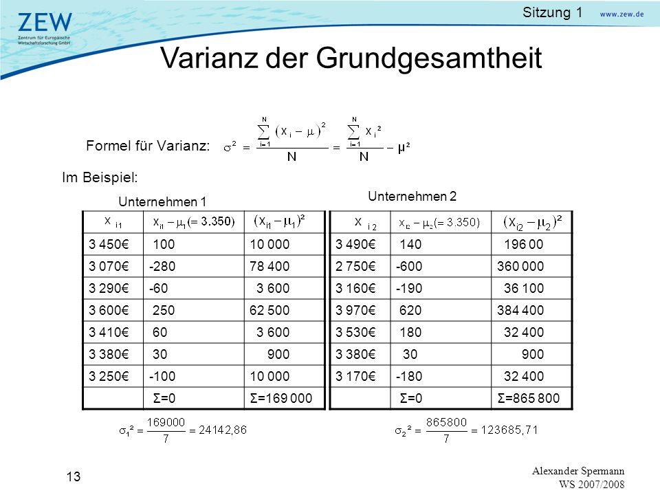 Sitzung 1 12 Alexander Spermann WS 2007/2008 Streuung:Abweichungen der Beobachtungen vom Durchschnittswert. (dispersion) x 1 - μ, x 2 – μ, …,x N - μ D