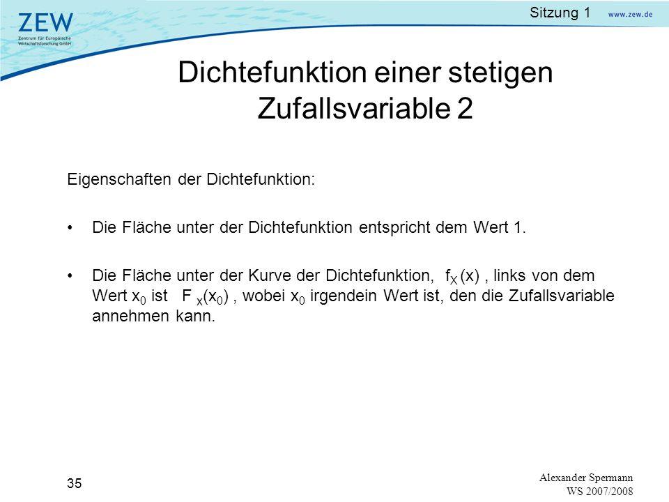 Sitzung 1 34 Alexander Spermann WS 2007/2008 Die Dichtefunktion für eine stetige Zufallsvariable X ist eine Funktion mit folgenden Eigenschaften: f X (x) 0 für alle x - Werte Grafik der Dichtefunktion: a und b sind Werte der Zufallsvariable X, wobei a<b.