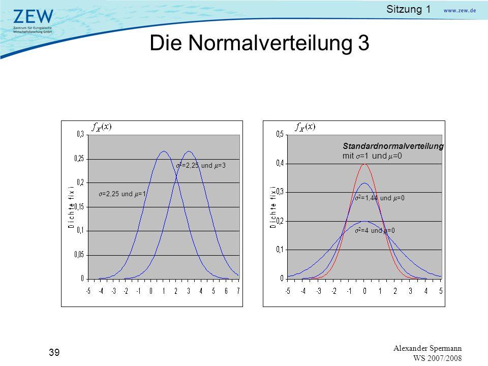 Sitzung 1 38 Alexander Spermann WS 2007/2008 Eigenschaften: Der Mittelwert der Zufallsvariable ist µ, also: E (X) = μ Die Varianz der Zufallsvariable ist σ² also: mit Standardabweichung: = σ wobei gilt: je kleiner σ², desto enger liegt die Verteilung um den wahren Wert Die Form der Dichtefunktion ist eine symmetrische Glockenkurve mit dem Zentrum im Mittelwert µ.