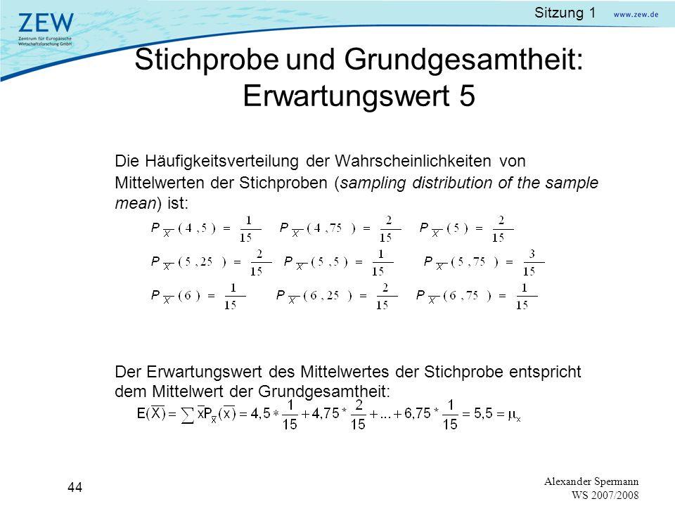 Sitzung 1 43 Alexander Spermann WS 2007/2008 Beispiel: Es sollen Arbeitsteams aus jeweils 4 Beschäftigten mit Berufserfahrung von 2 bis 8 Jahren zusam