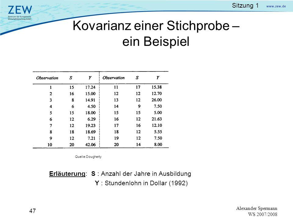 Sitzung 1 46 Alexander Spermann WS 2007/2008 Kovarianz einer Stichprobe: wegen der Approximation von µ durch und ŷ wird als Kompensation durch (n-1), anstatt durch n dividiert, d.h es wird ein Freiheitsgrad aufgegeben.