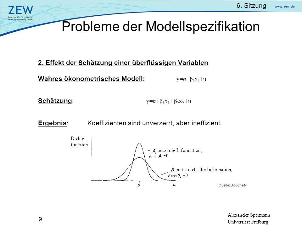 Alexander Spermann Universität Freiburg 6. Sitzung 9 2. Effekt der Schätzung einer überflüssigen Variablen Wahres ökonometrisches Modell: y=α+β 1 x 1