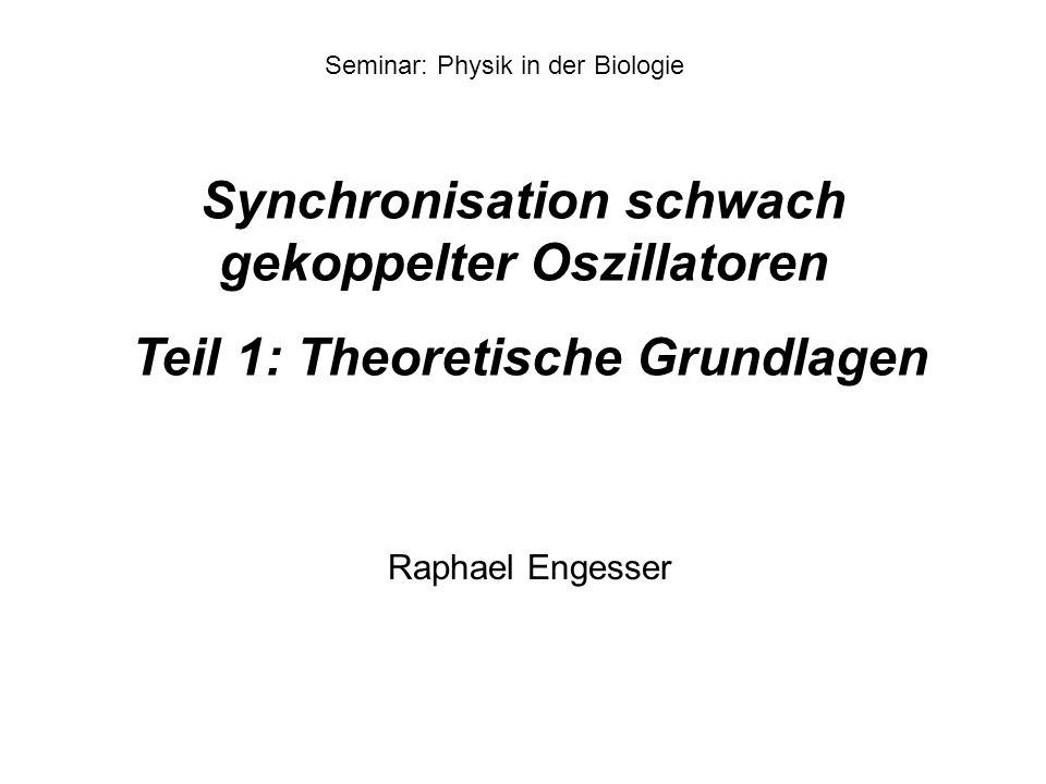 Synchronisation schwach gekoppelter Oszillatoren Teil 1: Theoretische Grundlagen Seminar: Physik in der Biologie Raphael Engesser