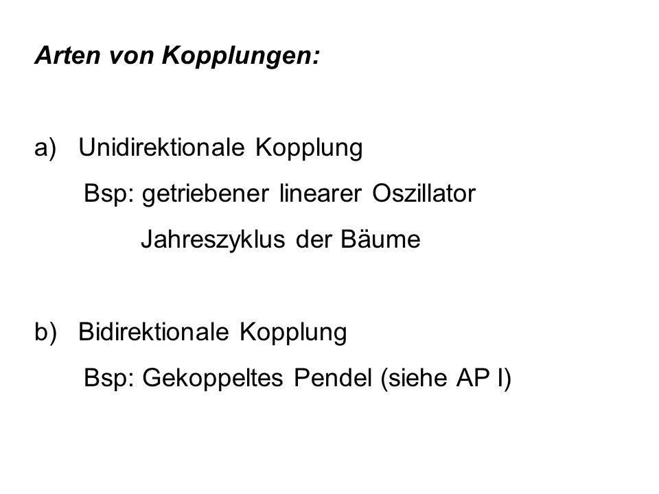 Arten von Kopplungen: a) Unidirektionale Kopplung Bsp: getriebener linearer Oszillator Jahreszyklus der Bäume b) Bidirektionale Kopplung Bsp: Gekoppeltes Pendel (siehe AP I)