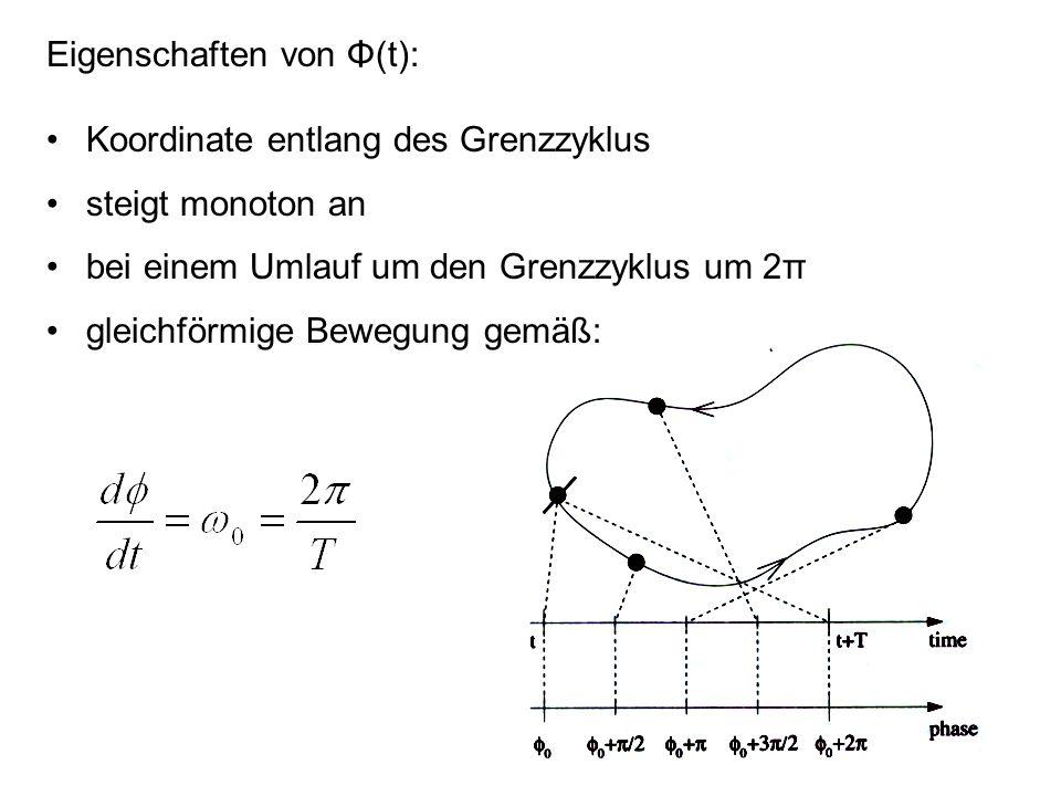 Eigenschaften von Φ(t): Koordinate entlang des Grenzzyklus steigt monoton an bei einem Umlauf um den Grenzzyklus um 2π gleichförmige Bewegung gemäß: