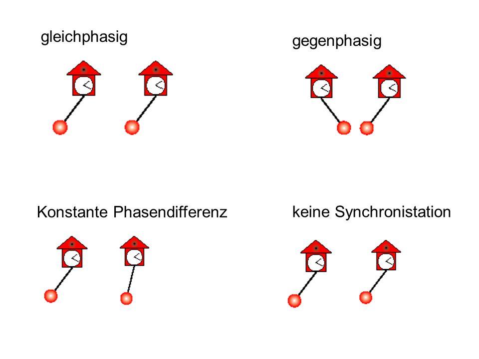 gleichphasig gegenphasig Konstante Phasendifferenz keine Synchronistation