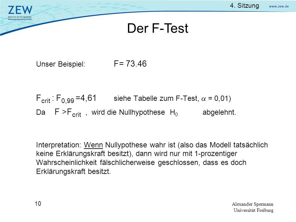 4. Sitzung Alexander Spermann Universität Freiburg 10 Unser Beispiel: F= 73.46 F crit : F 0,99 =4,61 siehe Tabelle zum F-Test, = 0,01) Da F >F crit, w