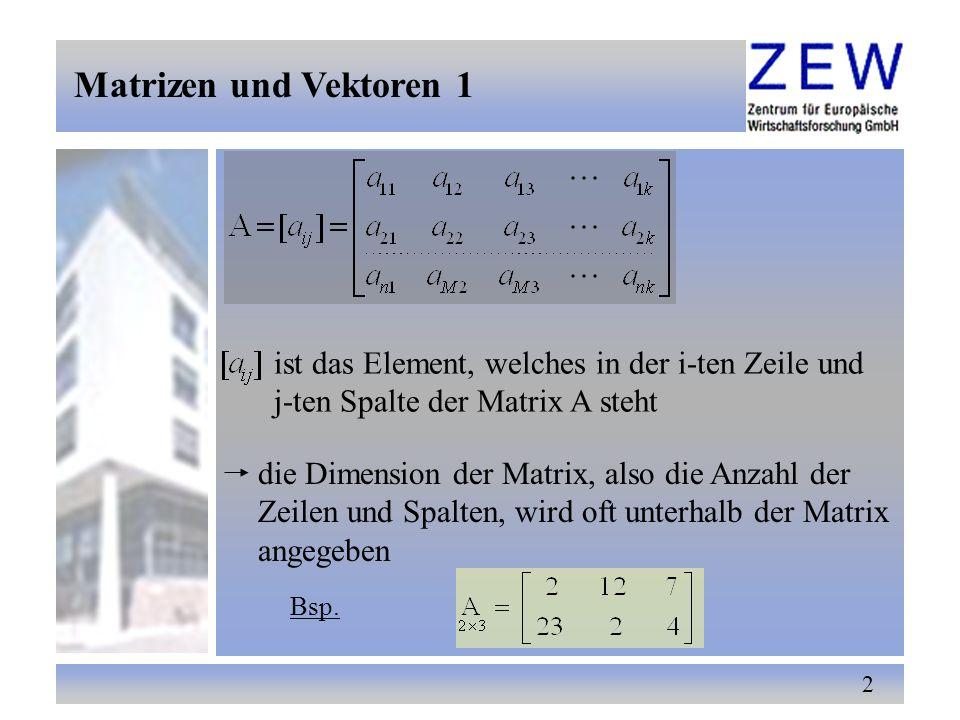 33 Die Maximalzahl linear unabhängiger Spaltenvektoren (Zeilenvektoren) einer Matrix A heißt Spaltenrang (Zeilenrang) dieser Matrix der Spaltenrang stimmt stets mit dem Zeilenrang überein deshalb spricht man nur vom Rang einer Matrix A der Rang einer (n × k) Matrix A kann offenbar nicht größer als die kleinste der Zahlen n und k sein Rang einer Matrix 2