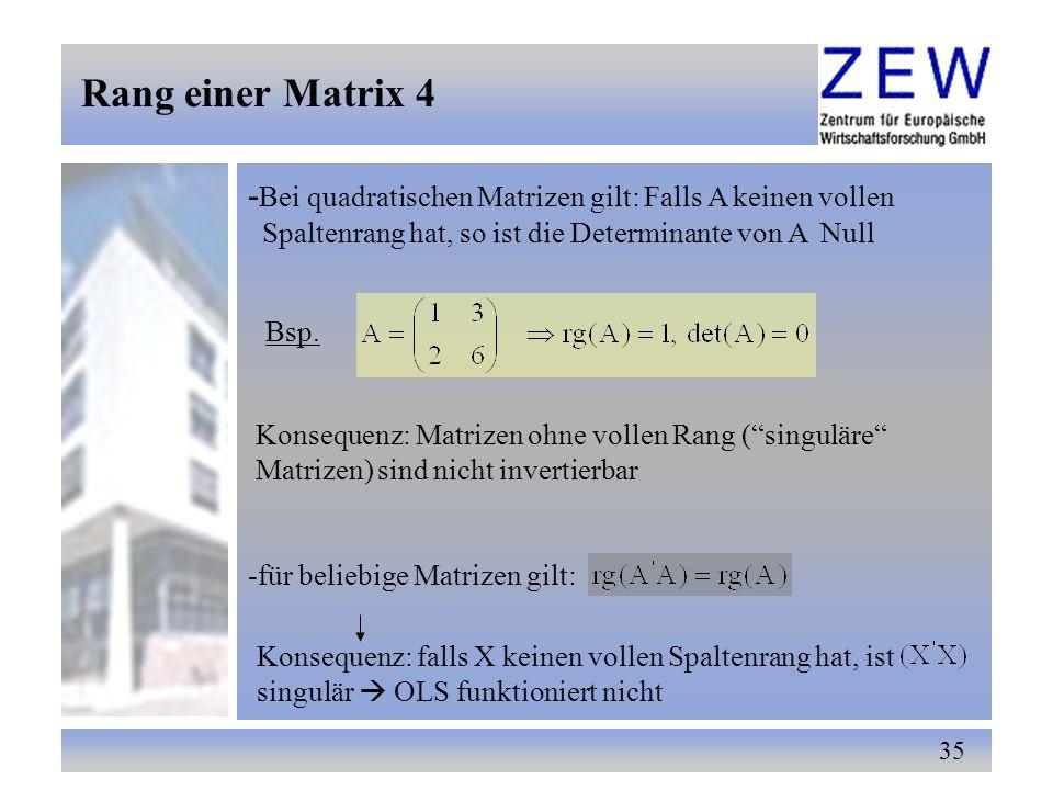 35 - Bei quadratischen Matrizen gilt: Falls A keinen vollen Spaltenrang hat, so ist die Determinante von A Null Bsp. Konsequenz: Matrizen ohne vollen