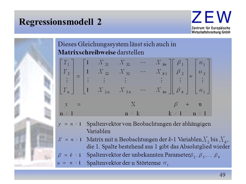49 Dieses Gleichungssystem lässt sich auch in Matrixschreibweise darstellen Spaltenvektor von Beobachtungen der abhängigen Variablen Matrix mit n Beob