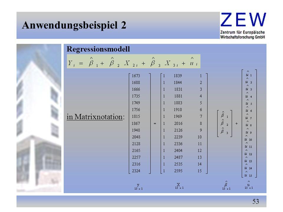 53 Regressionsmodell in Matrixnotation: Anwendungsbeispiel 2