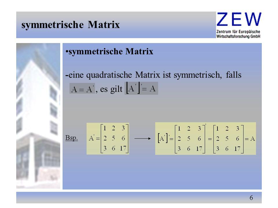 47 Anwendung der Matrizenrechnung Im Rahmen eines linearen Regressionsmodells soll nun die Anwendung der Matrizenrechnung aufgezeigt werden Regressionsmodell abhängige VariableY k-1 erklärende Variablen Parameter Störterm i = 1,2,...,n Anzahl der Beobachtungenn 4.
