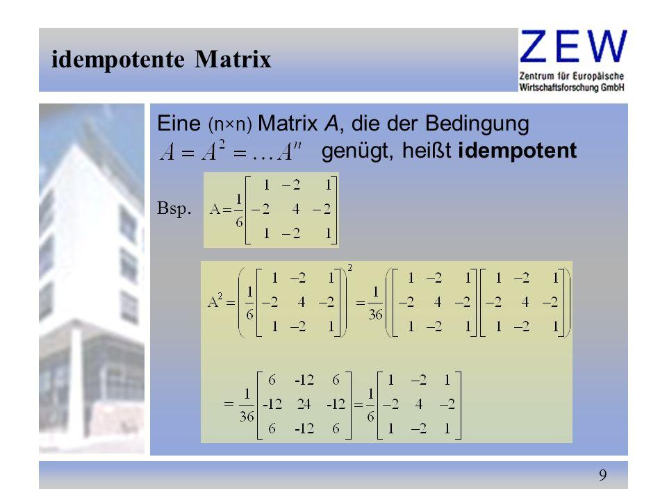 20 -für die Matrizenmultiplikation gelten folgende Rechenregeln, sofern alle auftretenden Produkte erklärt sind -Matrizenmultiplikation ist nicht kommutativ Matrizen-Multiplikation 7