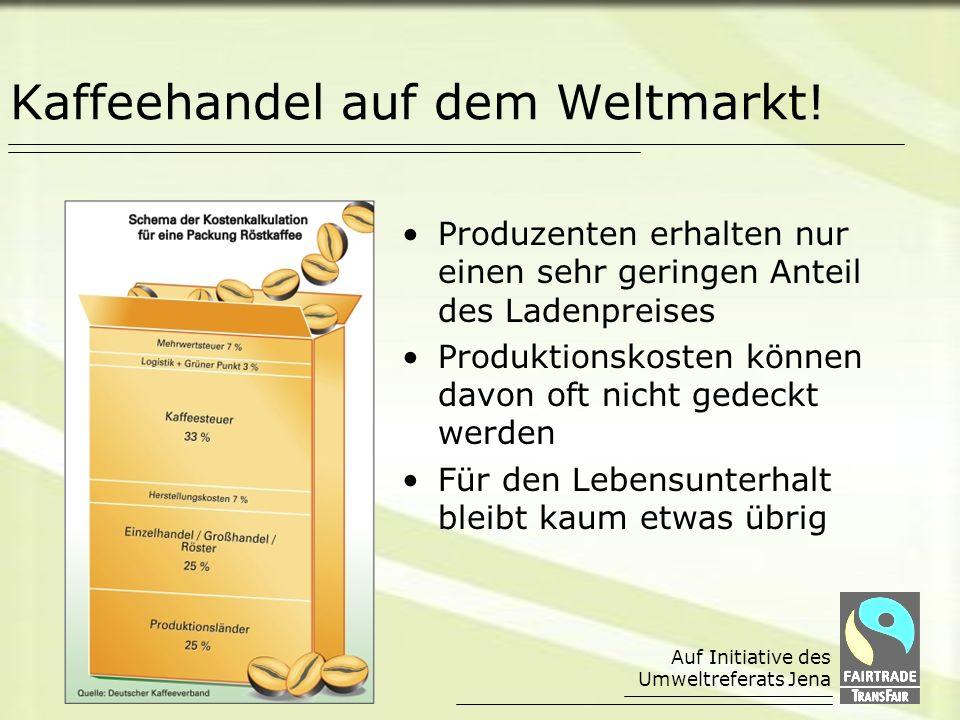 Auf Initiative des Umweltreferats Jena Direkter Handel mit Kooperativen, in denen sich Kaffeekleinbauern zusammengeschlossen haben Langfristige und partnerschaftliche Handelsbeziehungen Zahlung garantierter Mindestpreise über dem Weltmarktniveau plus Prämien für soziale Projekte Beratungsangebote z.B.