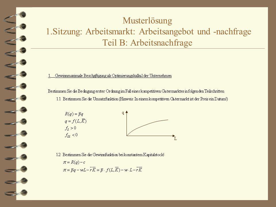 Musterlösung 1.Sitzung: Arbeitsmarkt: Arbeitsangebot und -nachfrage Teil B: Arbeitsnachfrage q L