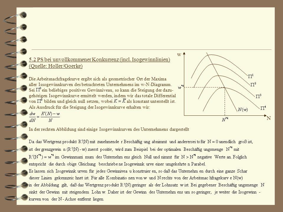 w N 5.2 PS bei unvollkommener Konkurrenz (incl. Isogewinnlinien) (Quelle: Holler/Goerke) Die Arbeitsnachfragekurve ergibt sich als geometrischer Ort d