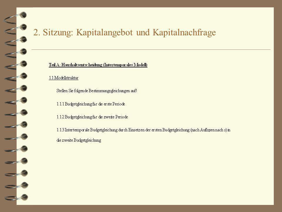 2. Sitzung: Kapitalangebot und Kapitalnachfrage