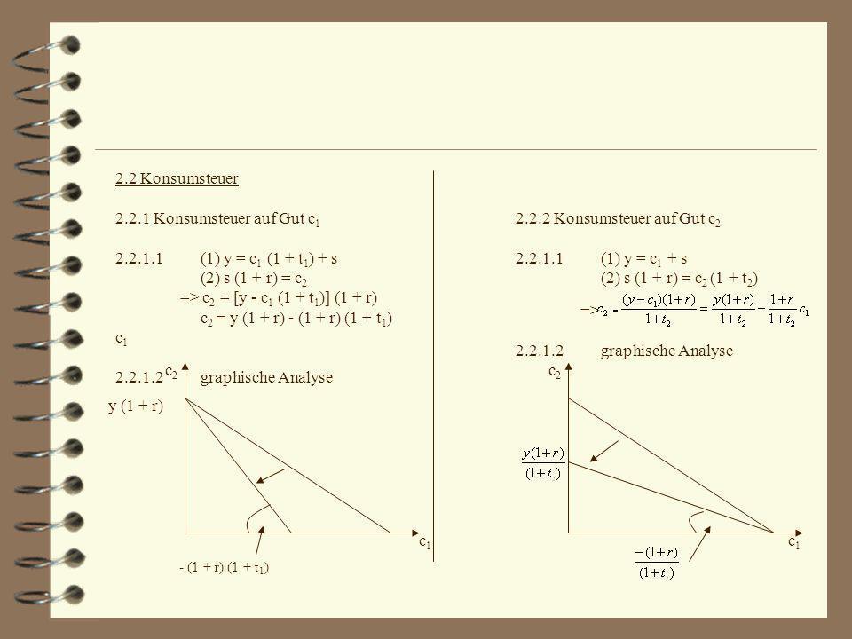 2.2 Konsumsteuer 2.2.1 Konsumsteuer auf Gut c 1 2.2.1.1(1) y = c 1 (1 + t 1 ) + s (2) s (1 + r) = c 2 => c 2 = [y - c 1 (1 + t 1 )] (1 + r) c 2 = y (1