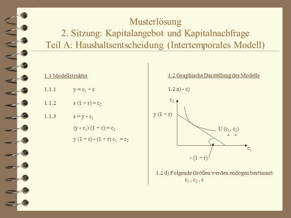 Musterlösung 2. Sitzung: Kapitalangebot und Kapitalnachfrage Teil A: Haushaltsentscheidung (Intertemporales Modell) 1.1 Modellstruktur 1.1.1y = c 1 +